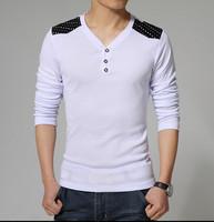 2015 Man Sport T shirts Cotton V-Neck Star Ragan Men Slim Fit Summer Tshirt t-shirt pullover Tee Shirt For Men 4,5XL