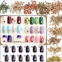1000pcs /pack 3d Fashion Alloy Gold Base Nail Art Rhinestone Pearl Decorations Glitter Nails DIY 12 colors for choose #NA229