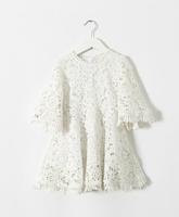 2015 Girls Hollow Out Lace Half  Flare Sleeve Elegant Dresses, Kids Brand Fashion Dress White   6 pcs/lot ,Wholesale