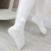 SKL S092 flower children tight spring/autumn knit cotton stockings elastic princess ballet accessories birthday gift hot sale