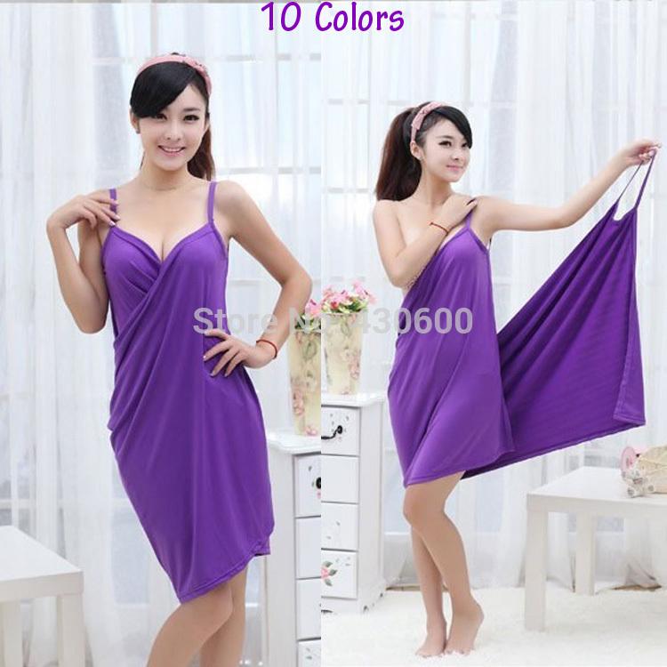 New Style Women Magic Bath Towel 140*70CM Lady Homewear Sleepwear Women's Summer Beach Strap Dress Solid 10 Colors Cover-ups(China (Mainland))