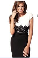 2015 new OL stitching lace wome dress white black  pencil casual dress sexy club dresses PM143