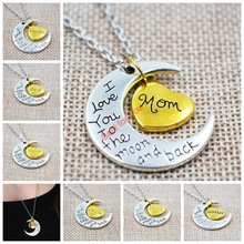 Mom Gift Hot Sale Charm Family Gift Personal I LOVE YOU TO THE MOON AND BACK Moon Pendant Necklace Chain 20PCS/LOTS