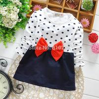 New 2015 Children Spring Top Wear Girls T-shirts Polka Dot Baby Girls Red Tees Children Casual T-shirts Kids Clothing