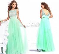 2015 Prom Dresses Chiffon A-line Bateau Neck Natual Waist Floor-length V-back Appliques mint green Prom Gown