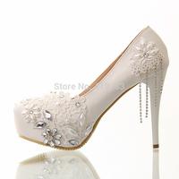 Courtlike Beading Lovely Lace Bridal Shoes Tassel Ultra High Heels Bridal Shoes 12CM Wedding Shoes Platform