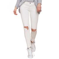 Plus Size Trousers Women Pants Slim Hole Skinny Pants Women Trousers Long White Pencil Pantalones Casual Ladies Trousers 2015
