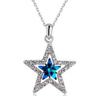 Women Girl Wedding Party Dress Exquisite Shining Jewel Romantic Lovely Wishing Star Austria Crystal Pendant Choker Necklace Gift