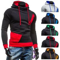 High quality! Wholesale 2015 Winter New Fashion splicing Pullover men hoodies Korean Casual Slim hoodies Men coat 5 colors
