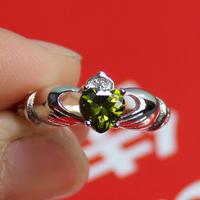 Irish Claddagh Women's 925 Silver Filled Green Peridot Crystal CZ  Stone Wedding Ring