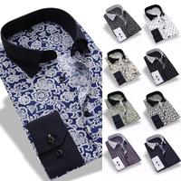 10 colors 2015 New Men's Spring Fashion printing Shirts Casual Slim Fit Stylish Mens Dress Shirts Plus size M~3XL Free shipping