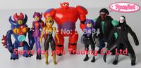 2015 Best selling NEW 7PCS/set 6-11cm Big Hero 6 Hiro Baymax action figure toys big hero Christmas gift toy.Free shipping