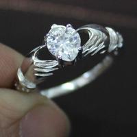 Irish Claddagh Lady's 925 Silver Filled White Sapphire Crystal CZ  Stone Wedding Ring