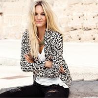 Brand fashion 2015 casual soft leopard slim women blazers single button notched Back slits at ladies leisure suit J1088