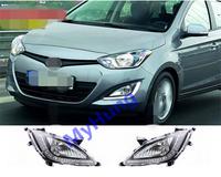 Car Daytime Running Light DRL fog lamp for hyundai i20 Aluminium+LED White12V 2pcs per set