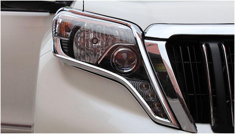 Free shipping,Toyota PRADO Land Cruiser FJ150 ABS Chrome front headlight eyelid cover ,2010-2014,2 pcs(China (Mainland))