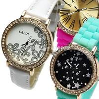 10pcs lot NEW Silicone Crystal women watch Retro fashion wristwatch woman rhinestone Golden Rim Vintage Watch Wholesale