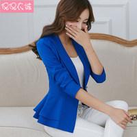 2015 Fashion Hot Sale New Free Shipping autumn long-sleeve slim blazer ruffle short blazer design candy color Outerwear & Coats