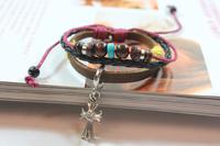 Wholesale-12pcs/lot European and American style cross leather bracelet fashion jewelry