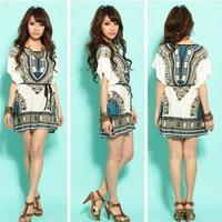 2015 New vestido de festa women summer dress Lady Fashion Dress Folk Print Bohemia Style Beach women dress