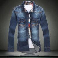 Men Shirts Jean Denim Shirt Plus Extra Large Size Casual Slim Dress-shirts Size 5XL 4XL 3XL XXL XL L M For Man Masculia