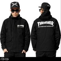Promotion sale!!! Winter new 2015 tide brand men hooded windbreaker jacket hiphop cotton canvas casual warm coat black outerwear