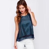 2015 spring summer casual sequins patchwork women chiffon shirt Elegant split ends ladies blouses free shipping J1091