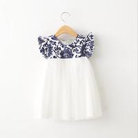 2015 Girls Korea Dazzel Pattern Patchwork Mesh Dresses, Princess Elegant Puff Sleeve Summer Dress  6 pcs/lot ,Wholesale