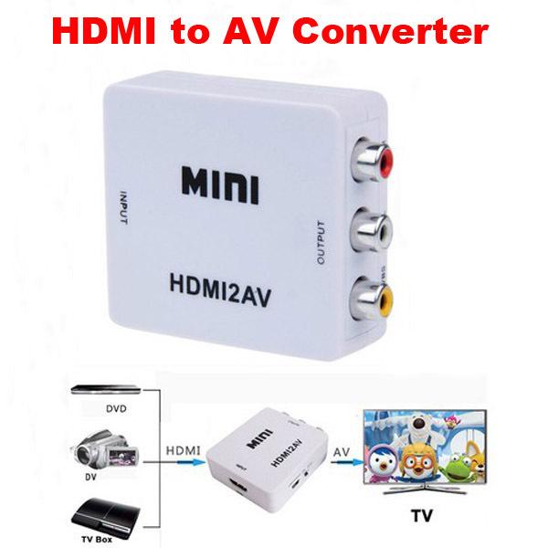 Mini Composite HD Video Converter Box HDMI to RCA AV / CVBS L/R Audio Video Adapter 1080P HDMI2AV Support NTSC and PAL Output(China (Mainland))