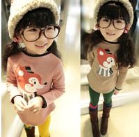 Free Shipping NEW 1PC/Lot Spring & Autumn Children  Girl Soft Cute Cartoon Long T- Shirt  Kids Cloth Cotton Fashion tops  Gift
