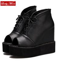 Spring Autumn 2015 cross straps women's elevator wedges platform shoes open toe black sandals X2-888 - 2