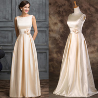 New Offer Designer Floor Length Elegant Apricot Satin Long Prom Dresses Elegant Formal Party Gown W007539