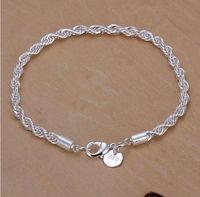 Hot sale 925 sterling silver Fashion snake 4mm Width 20cm bracelet/bangle Jewelry crystal trendy unisex bracelets Free shipping