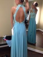Latest Dress Designs Light Blue Long Prom Dresses 2015 High Neck Backless Evening Gown Dress Fiesta Party Dresses Custom Made