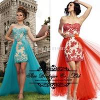 Vestidos 2015 Sheath Lace Appliques Removable Skirt Prom Dresses Party Long Dress Graduation Dress