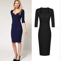 2015 New Fashion Vintage High waist Brief Slim hip Plus size Elegant Midguts Half-sleeve Female Dresses