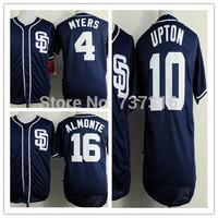 Cheap Sale Man New jersey San Diego Padres #4 Myers #10 Upton #16 Abraham Almonte Men's Blue Baseball Jerseys