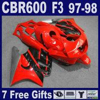 ABS Motorcycle factory fairings set for Honda 1998 CBR600 F3 1997 CBR 600 F3 97 CBR 600F3 98 red black bodywork fairing kit+tank