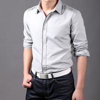 High quality!  2015 New Men's Fashion Shoulder fold design Pure Color Shirts Casual Slim Fit Stylish Mens Dress Shirts