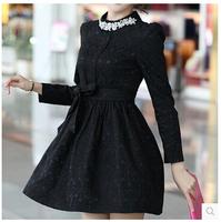 Slim plus size XXXL women ball gown dress 2015 new fashion europe style autumn winter long sleeve diamond o-neck bow dress F0955