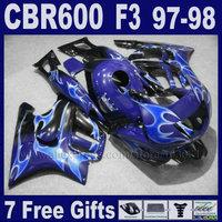 Customize ABS Motorcycle fairings kits for Honda 1998 CBR600 F3 1997 CBR 600 F3 97 CBR 600F3 98 OEM blue fairing kit+tank cover