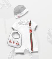 Newborn One-Pieces  2015 Summer New Baby Romper Sets Short Sleeve Romper+Hat+Feeding Bibs