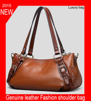 Hot !! 2015 women messenger bags leather worn commuter bag new women handbag fashion genuine leather bag portable shoulder bag