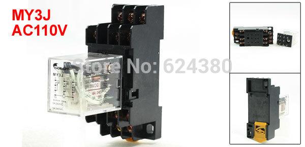 MY3J General Purpose Power Relay 3P2T 3PDT 110V AC Coil 5A 250VAC 28VDC 35mm DIN Rail w 11 Pin 11P Base Socket(China (Mainland))