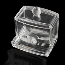New Design  Clear Acrylic Cotton Swab Q-tip Storage Holder Box Cosmetic Makeup Case NVIE