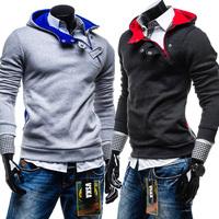 2015 New Stylish Autumn Winter Warm Men Hoodies Villus Casual Fashion Coat Askew Button hooded men hoodies