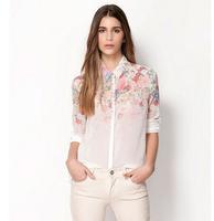 New 2015 Fashion European and American women's Gradient flower print shirt T-shirt  tops blouses summer chiffon shirt