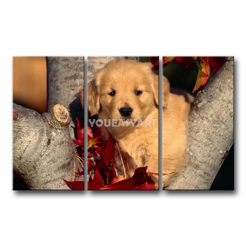 3 peça pintura em tela de arte cão bonito na ramo de árvore imprimir a imagem imagens de animais óleo para Home Decor(China (Mainland))