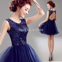 Blue black short design dinner banquet solid color Evening Dresses A10009#
