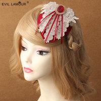 Princess lolita hat Vintage burgundy yarn flower lace hat bride wedding wine red tassel homburg party hair accessories FJ - 25